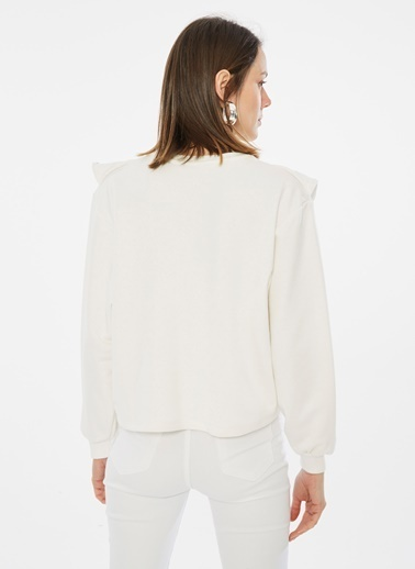 Loves You Nakış Volanlı Sweatshirt Beyaz